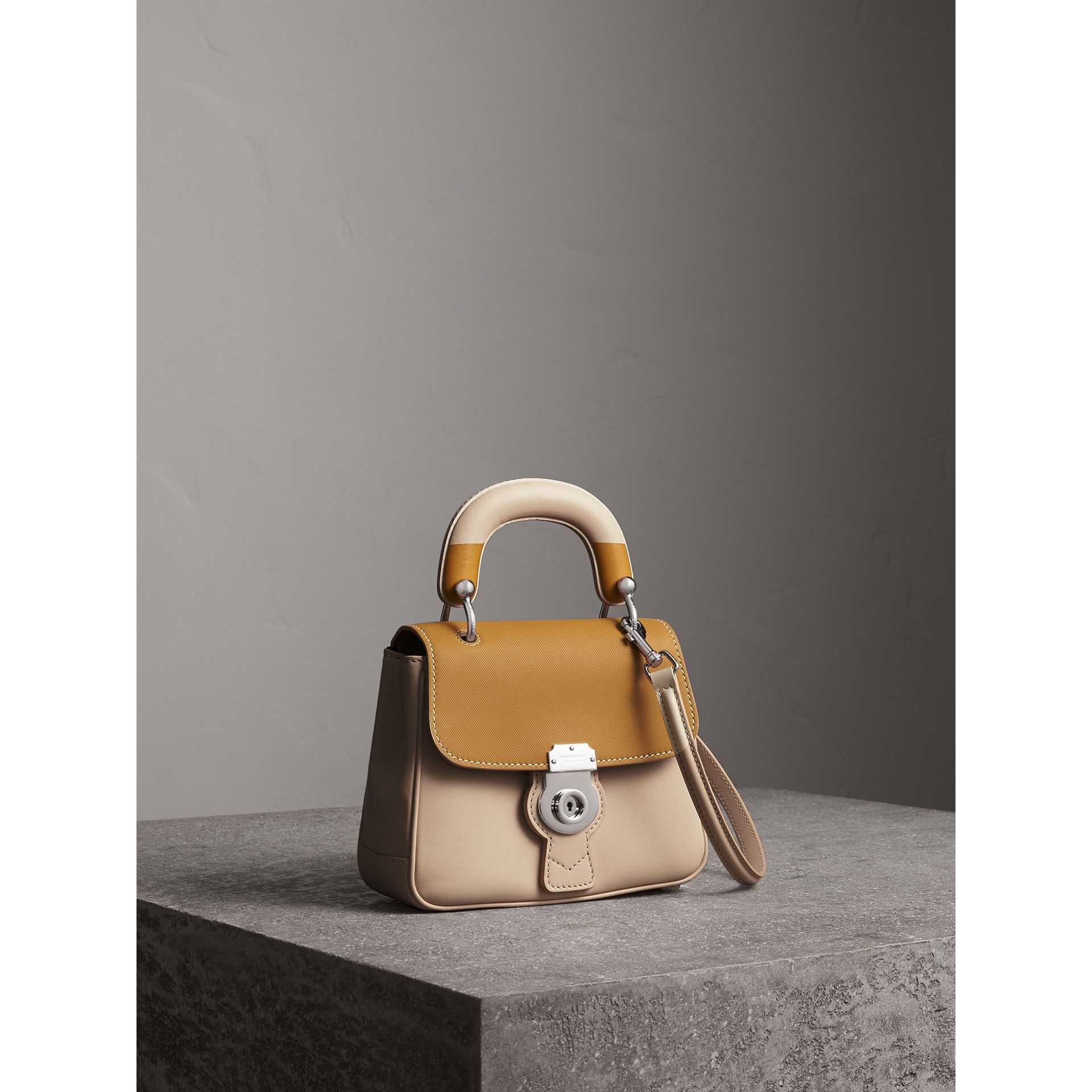 The Small DK88 Top Handle Bag with Geometric Print in Limestone/ochre Yellow - Women | Burberry United Kingdom - gallery image 7