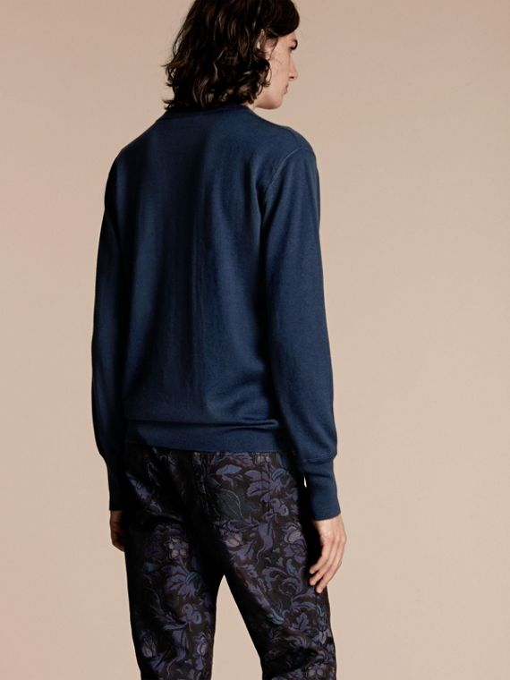 Crew Neck Cashmere Sweater Slate Blue - cell image 2