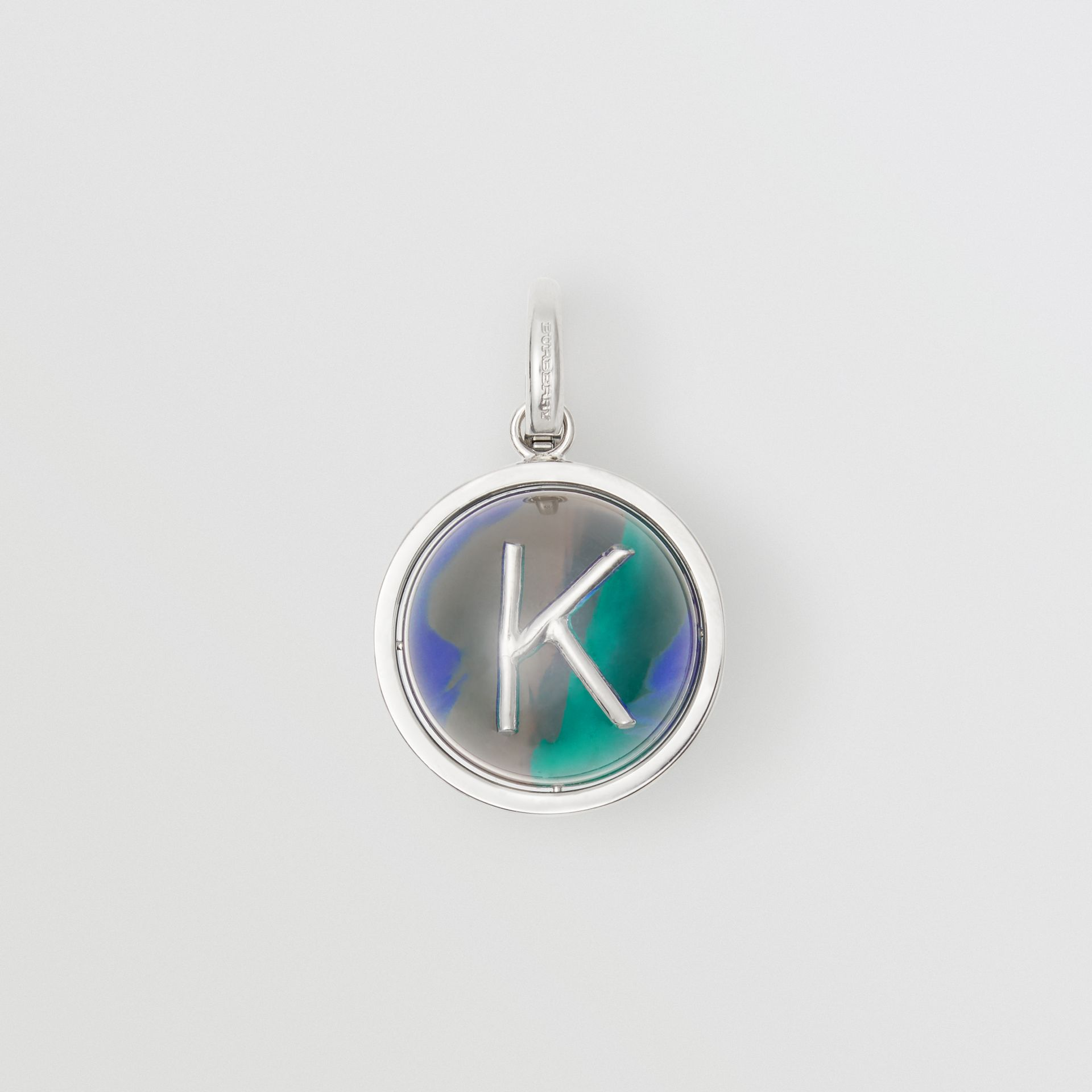 Marbled Resin 'K' Alphabet Charm in Palladio/ocean Blue - Women | Burberry - gallery image 0