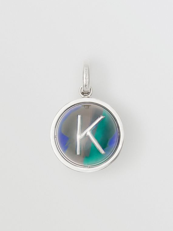 Marbled Resin 'K' Alphabet Charm in Palladio/ocean Blue