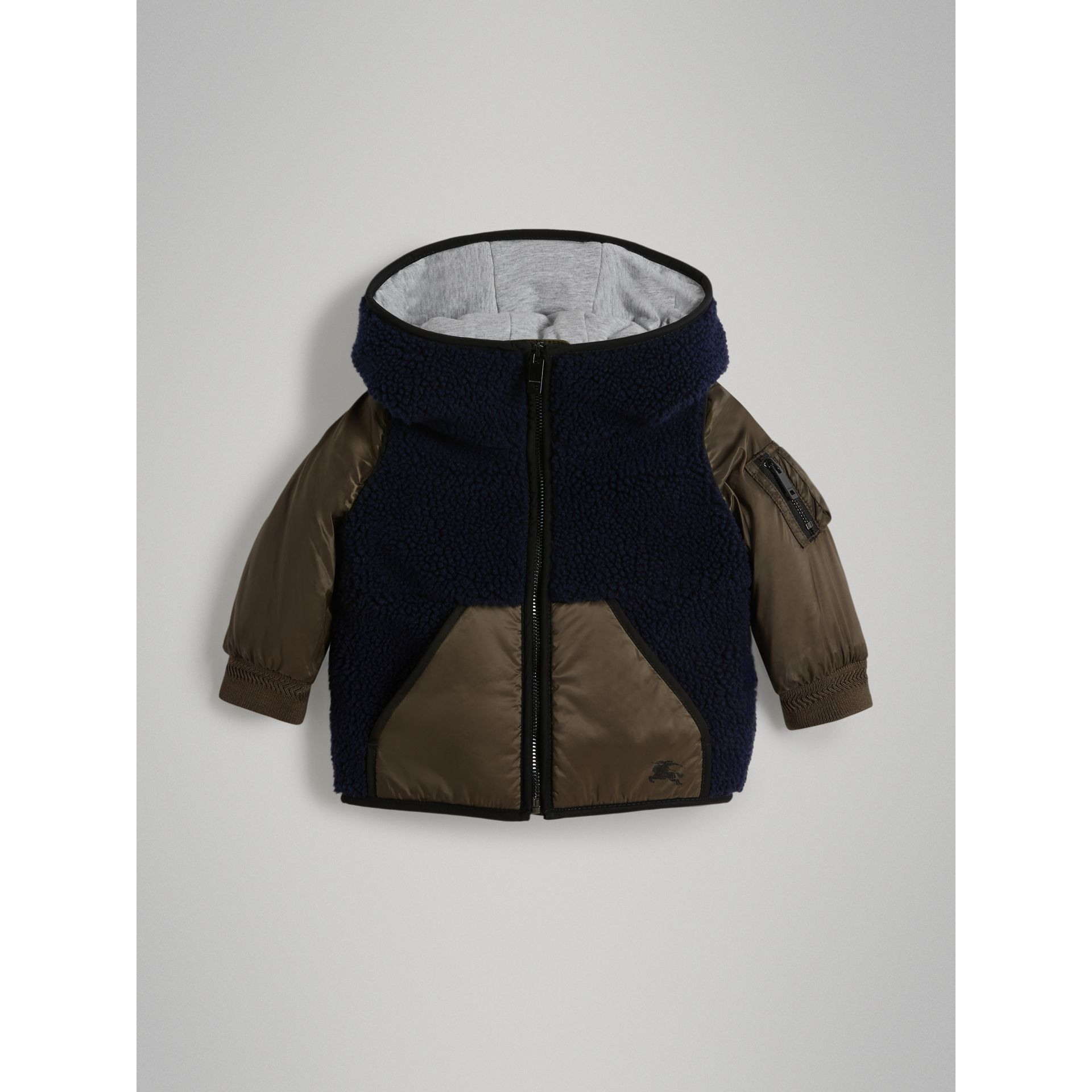 Faux Shearling Panelled Hooded Jacket in Navy - Children | Burberry - gallery image 0