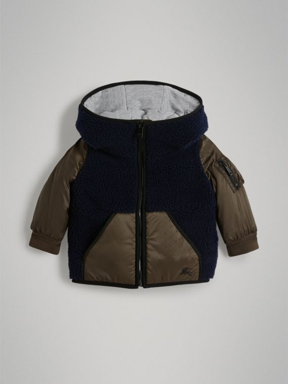 Faux Shearling Panelled Hooded Jacket in Navy