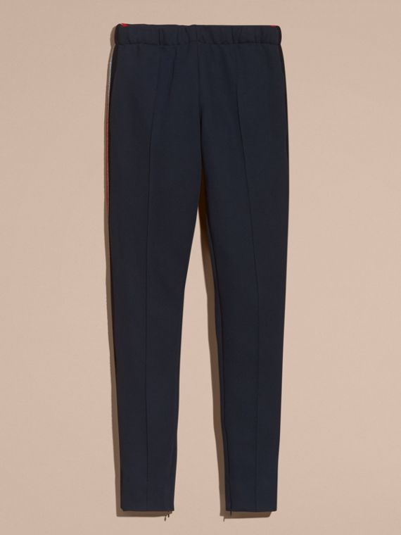 Sports-striped Cotton Blend Sweatpants in Navy - Men | Burberry - cell image 3