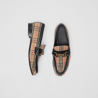 10Mm Moorley Check & Leather Loafers in Black