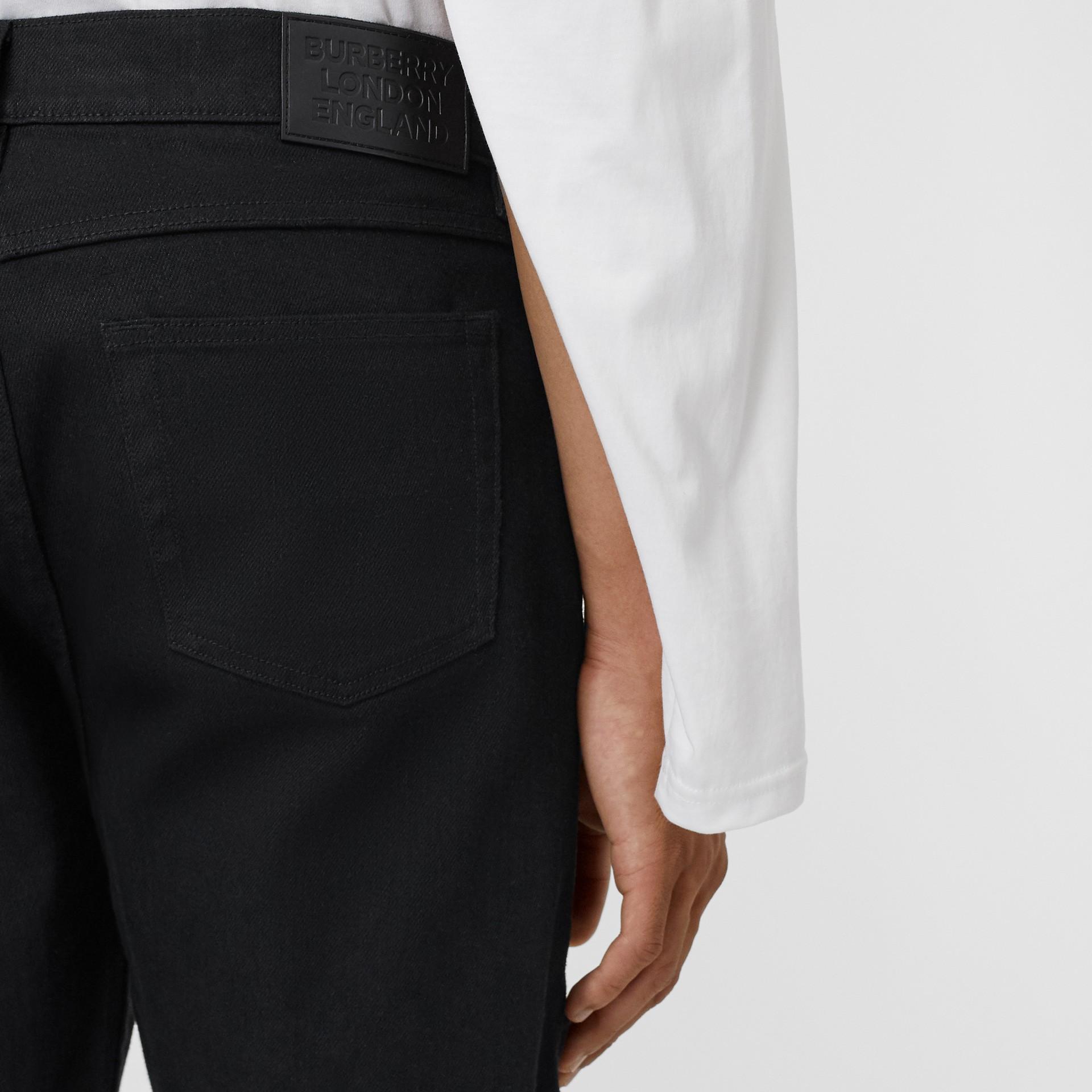 Slim Fit Japanese Denim Jeans in Black - Men | Burberry - gallery image 1