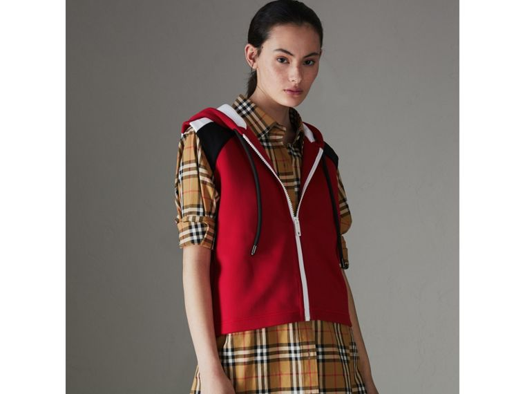 Stripe Detail Jersey Sleeveless Hoodie in Bright Poppy Red - Women | Burberry United States - cell image 4