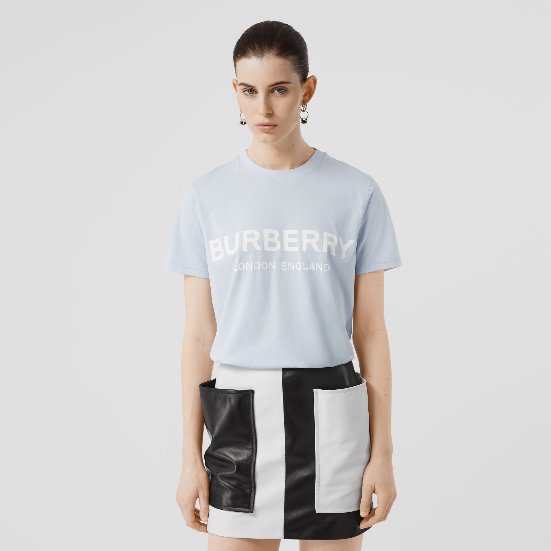 Logo Print Cotton T-shirt in Pale Blue - Women | Burberry - gallery image 4