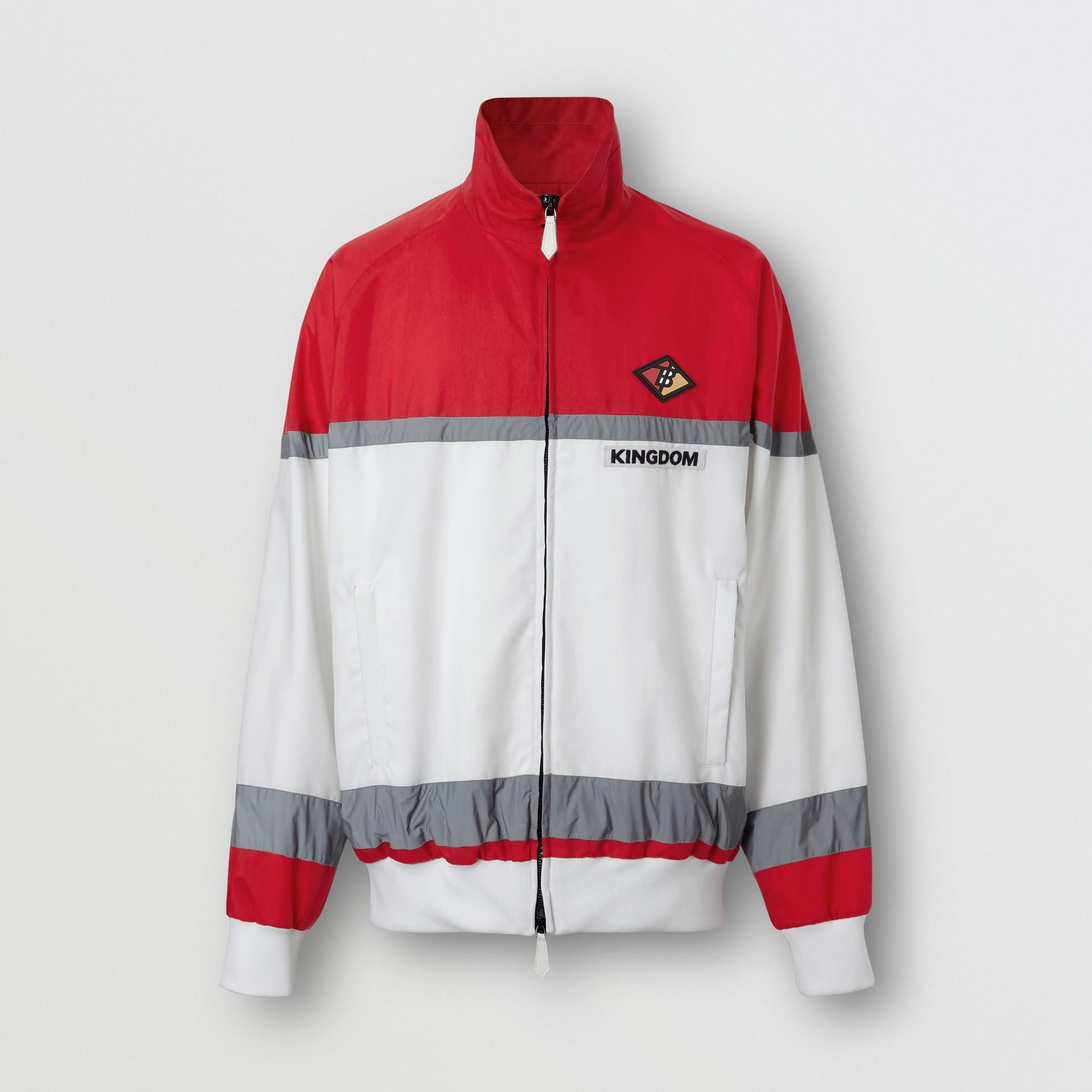 Giacca sportiva in nylon a righe con logo (Rosso Intenso) - Uomo | Burberry - immagine della galleria 3