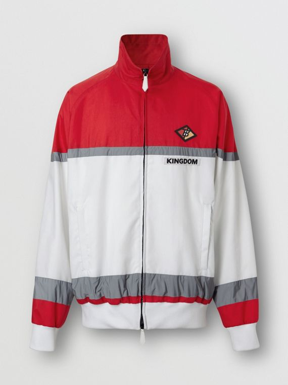Logo Graphic Striped Nylon Track Top in Bright Red