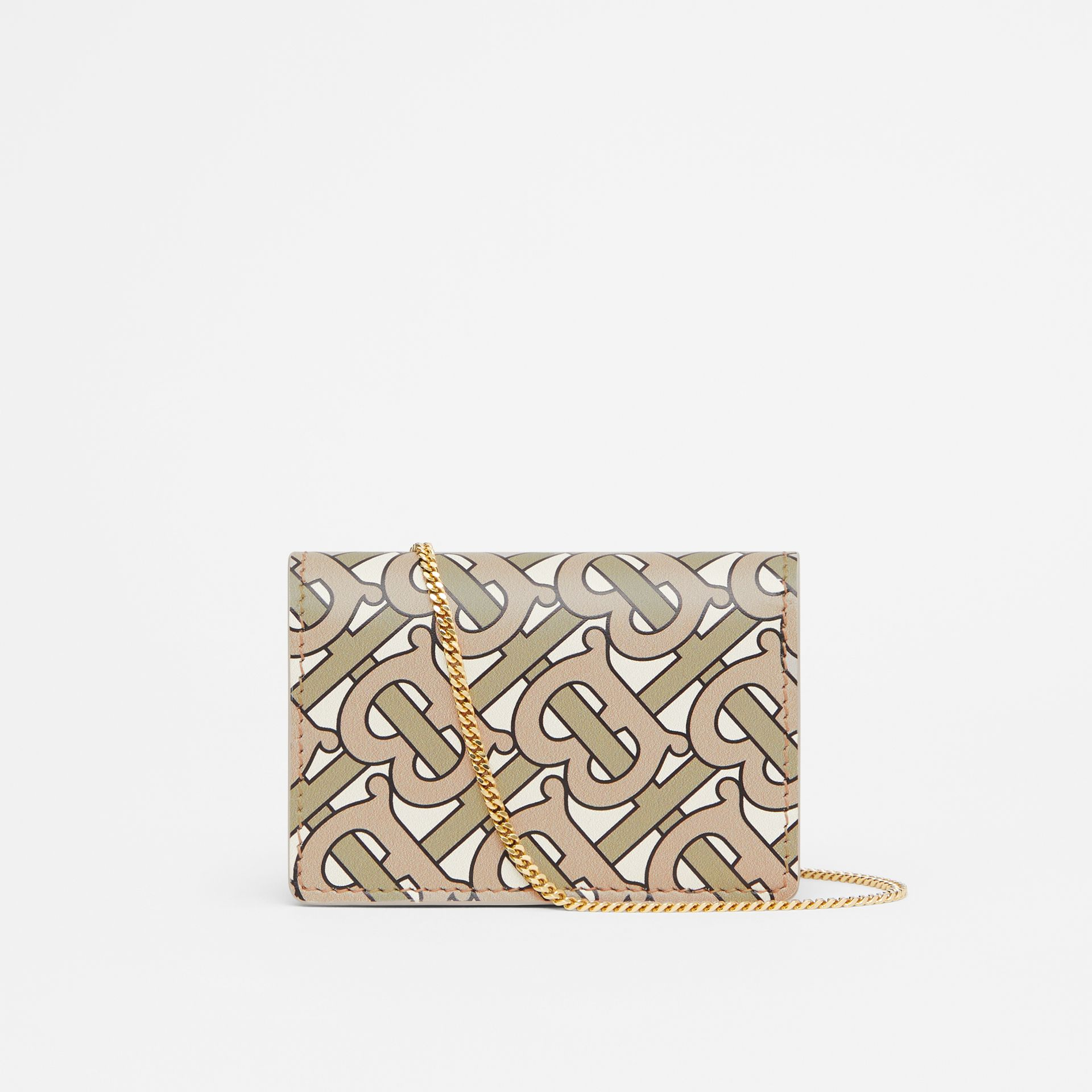 Monogram Print Card Case with Detachable Strap in Beige - Women | Burberry - gallery image 7