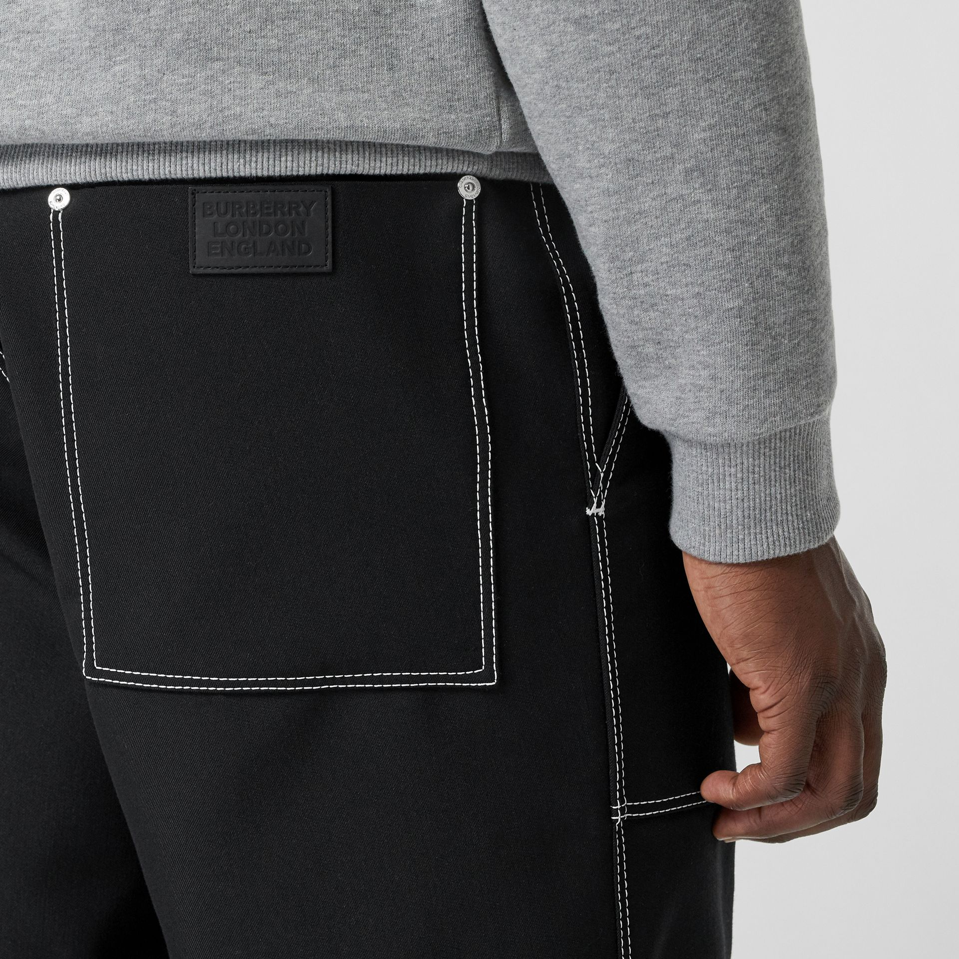 Topstitch Detail Wool Blend Wide-leg Trousers in Black - Men | Burberry United States - gallery image 5