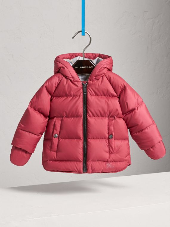 Hooded Down-filled Puffer Jacket with Mittens in Peony Rose | Burberry United States - cell image 2