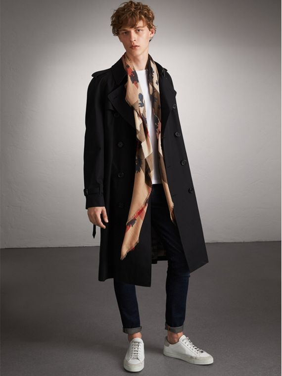 Beasts Print and Check Silk Wool Blend Square Scarf in Camel/stone Blue | Burberry Hong Kong - cell image 3