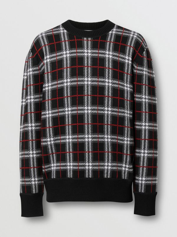 Check Merino Wool Jacquard Sweater in Black - Men | Burberry - cell image 3