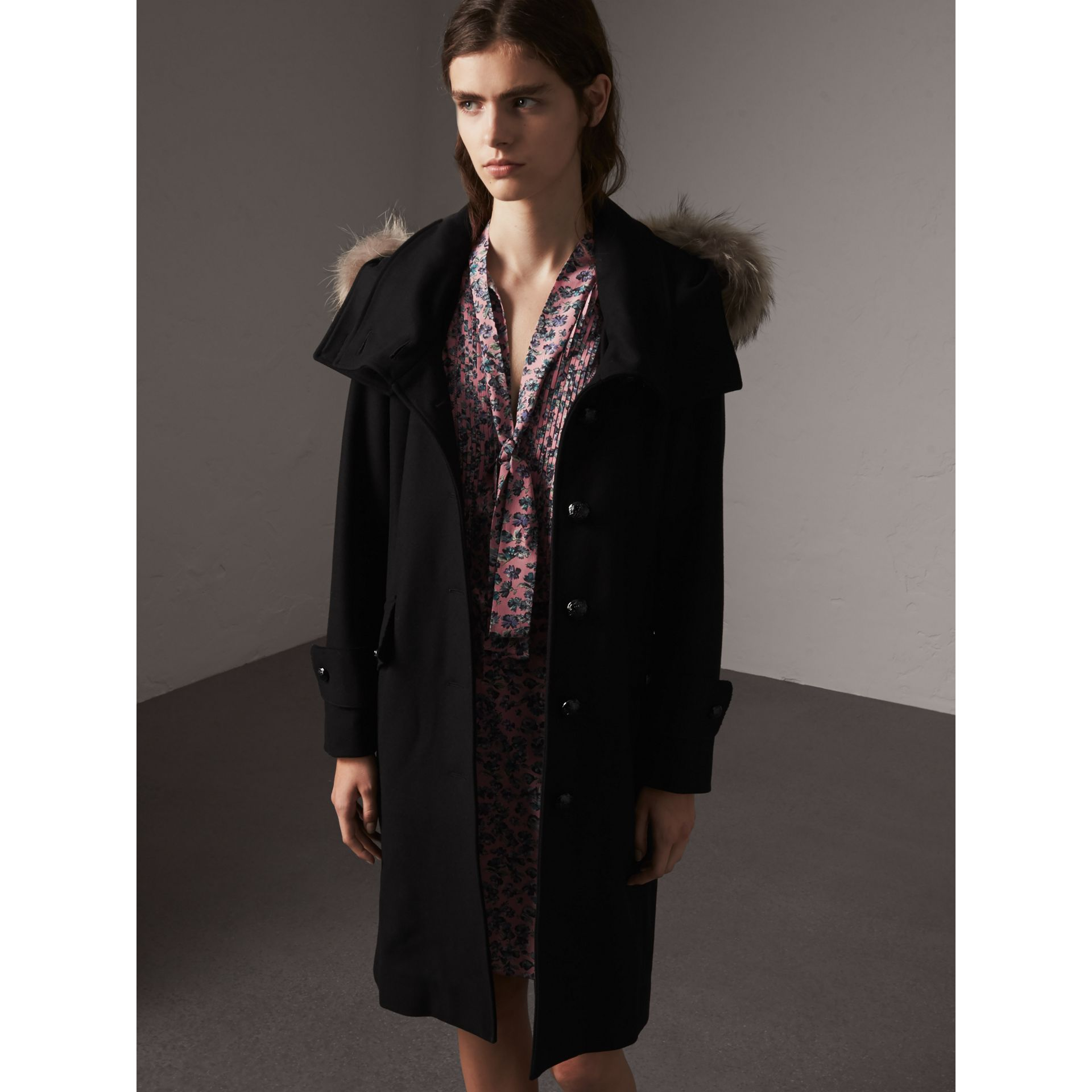 Hooded Wool Blend Coat with Detachable Fur Trim in Black - Women | Burberry - gallery image 6