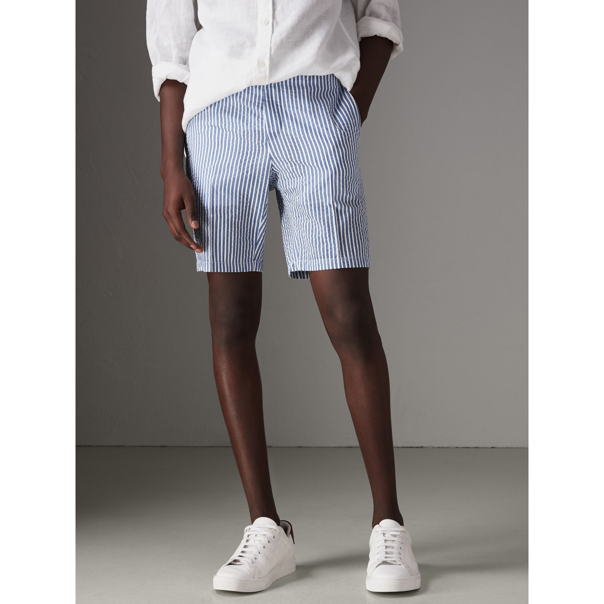 Striped Cotton Blend Tailored Shorts in Navy - Men | Burberry - gallery image 4
