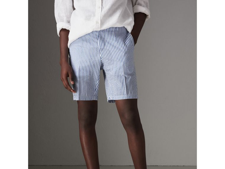 Striped Cotton Blend Tailored Shorts in Navy - Men | Burberry - cell image 4