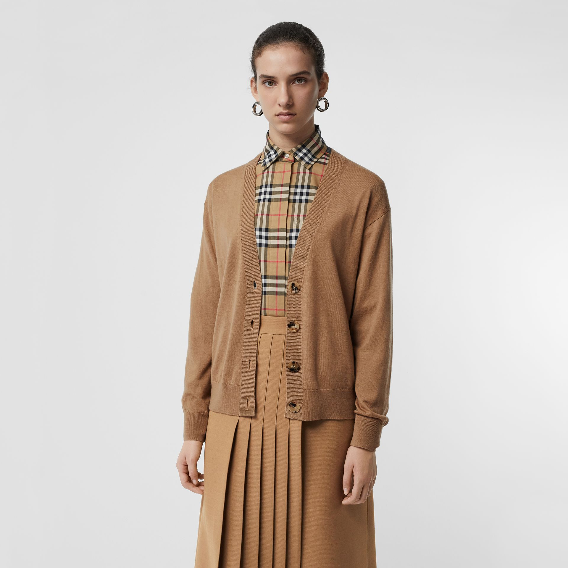 Vintage Check Detail Merino Wool Cardigan in Camel - Women | Burberry Singapore - gallery image 2
