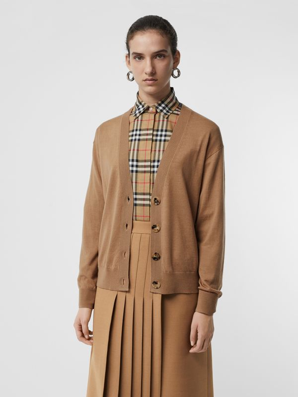 Vintage Check Detail Merino Wool Cardigan in Camel - Women | Burberry - cell image 2