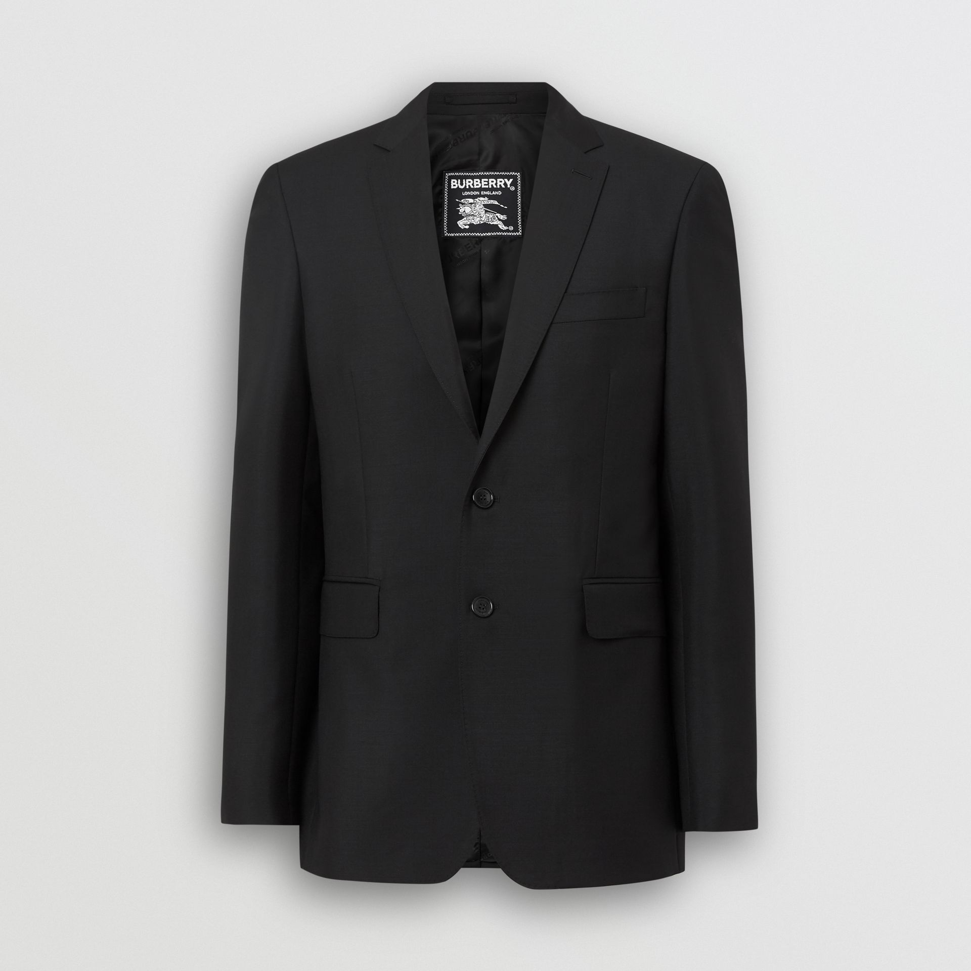 Slim Fit Wool Mohair Tailored Jacket in Black - Men | Burberry United Kingdom - gallery image 3