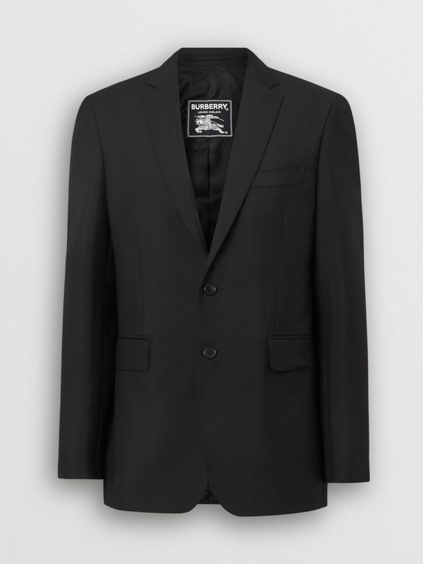 Slim Fit Wool Mohair Tailored Jacket in Black - Men | Burberry United Kingdom - cell image 3