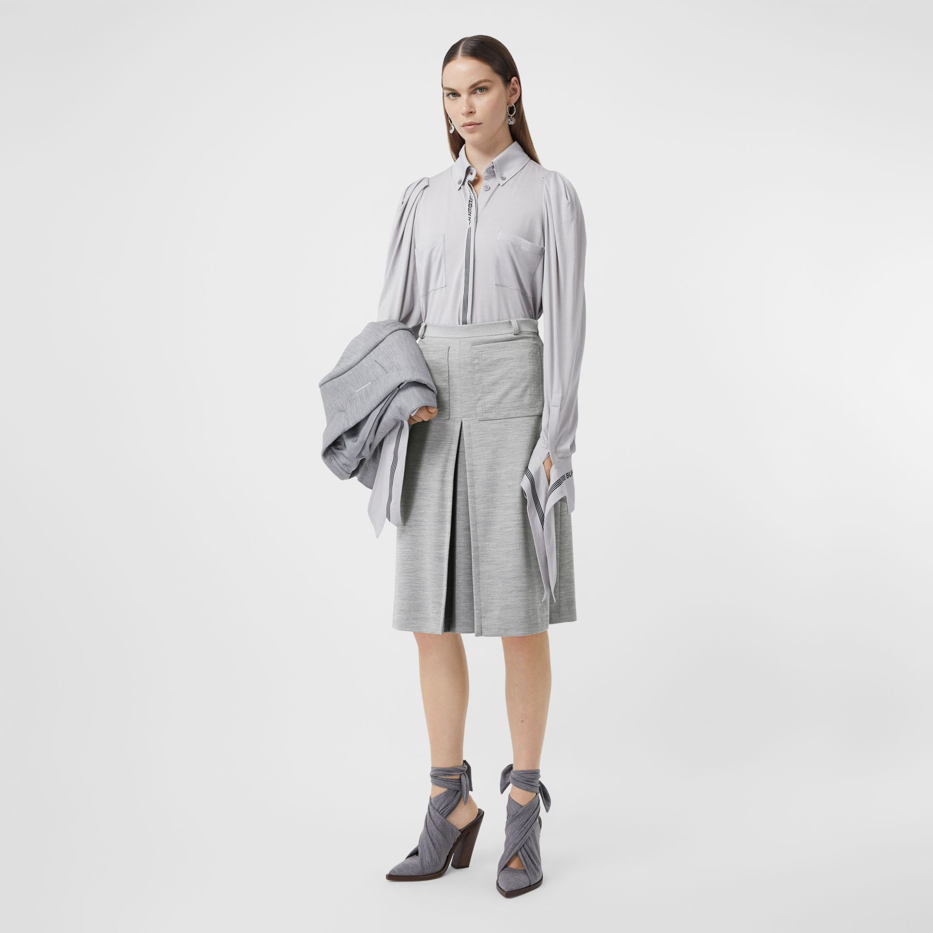 Box-pleat Detail Technical Wool Jersey A-line Skirt in Cloud Grey - Women | Burberry - gallery image 0