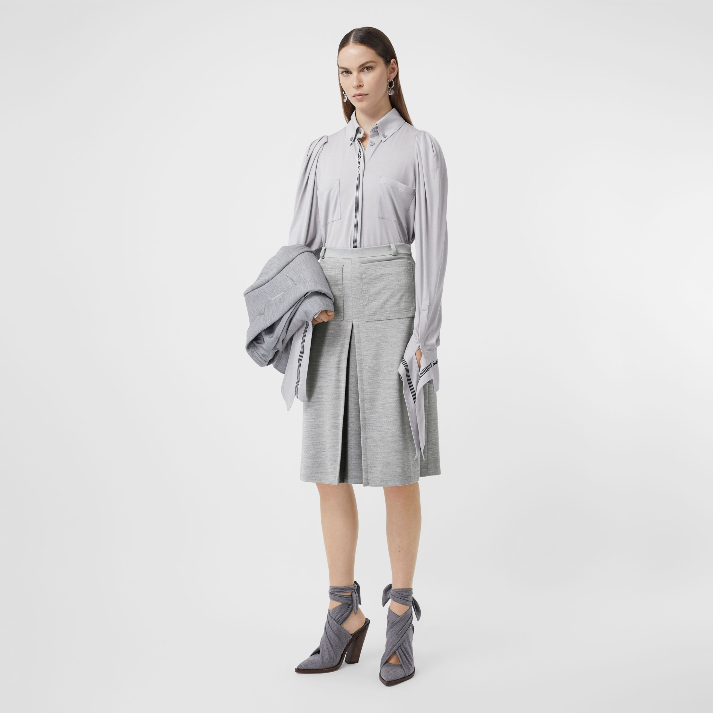 Box-pleat Detail Technical Wool Jersey A-line Skirt in Cloud Grey - Women | Burberry - 1