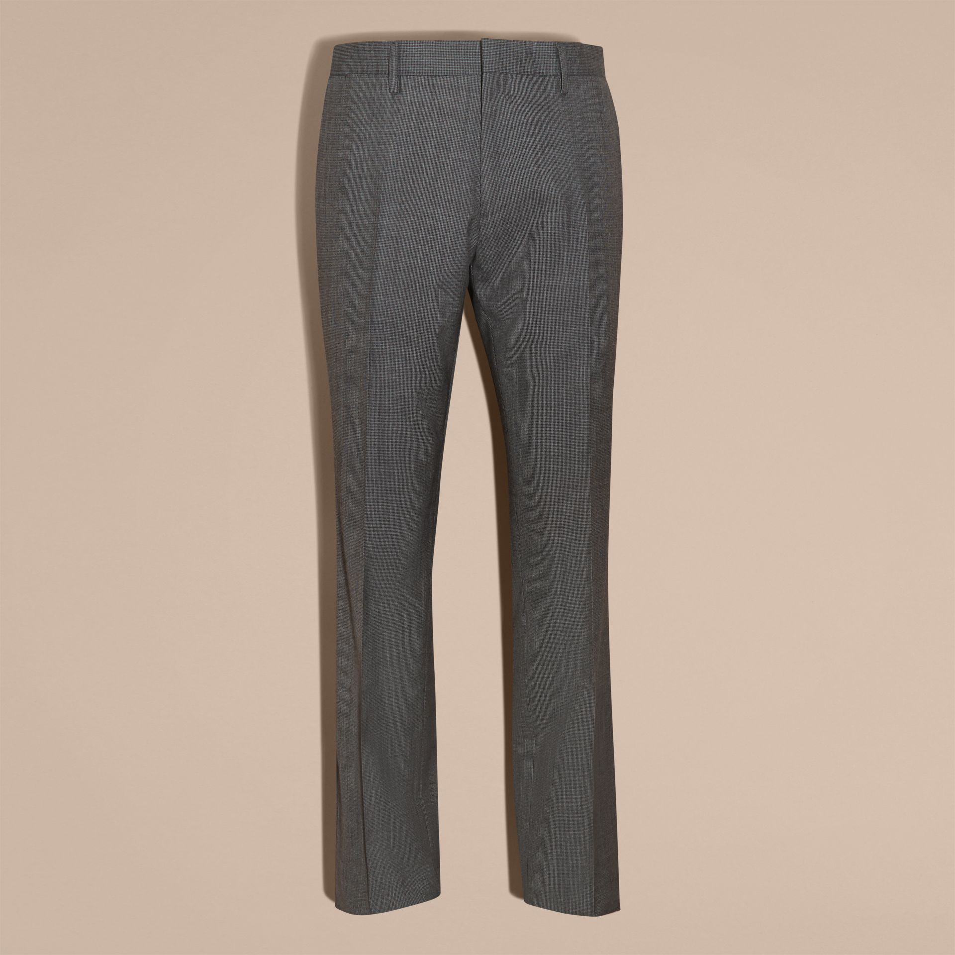 Mid grey melange Modern Fit Wool Cashmere Microcheck Part-canvas Suit - gallery image 10