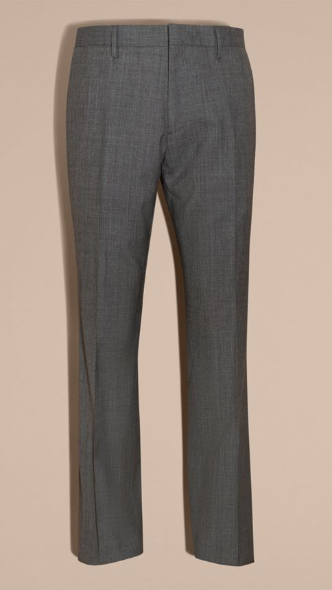 Mid grey melange Modern Fit Wool Cashmere Microcheck Part-canvas Suit - Image 10