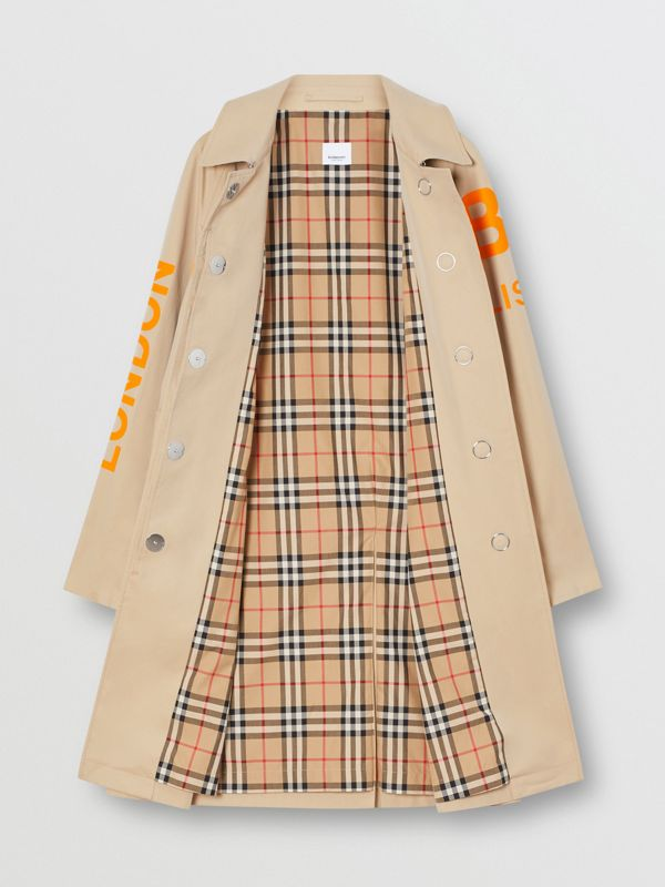 Horseferry Print Cotton Gabardine Car Coat in Honey - Women | Burberry - cell image 3