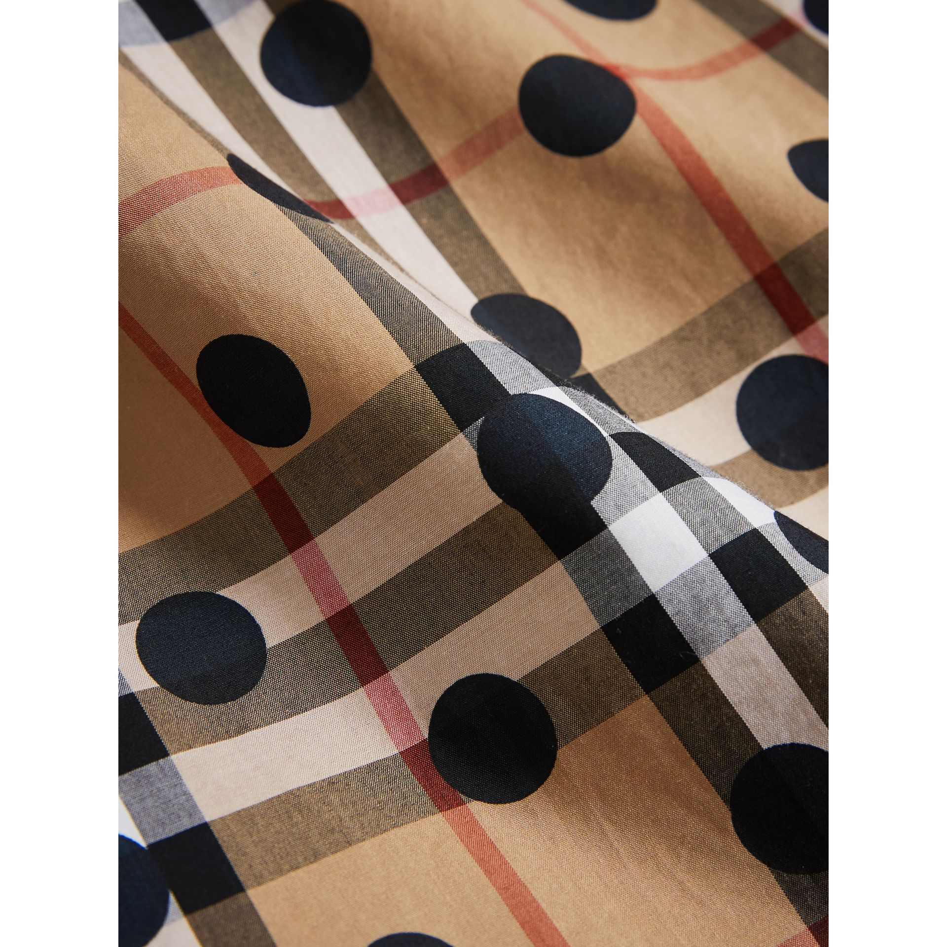 Gathered Polka-dot Check Cotton Dress in Navy - Girl | Burberry United Kingdom - gallery image 1