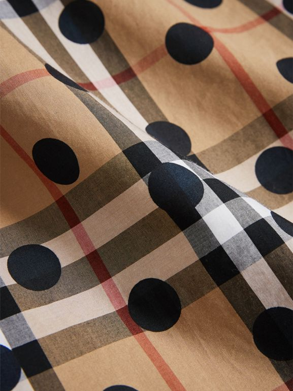 Gathered Polka-dot Check Cotton Dress in Navy | Burberry - cell image 1