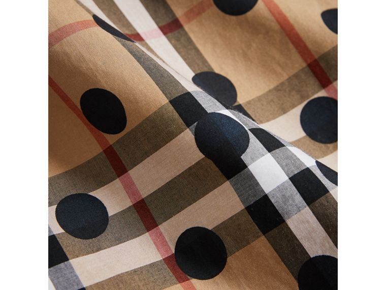 Gathered Polka-dot Check Cotton Dress in Navy - Girl | Burberry United Kingdom - cell image 1