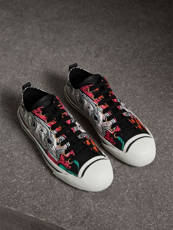 Doodle Print Coated Cotton Trainers in Black