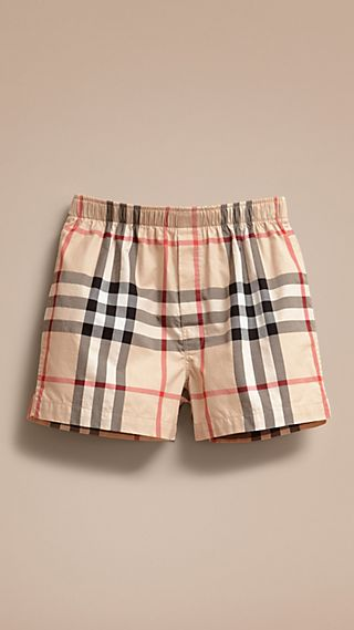 Check Twill Cotton Boxer Shorts