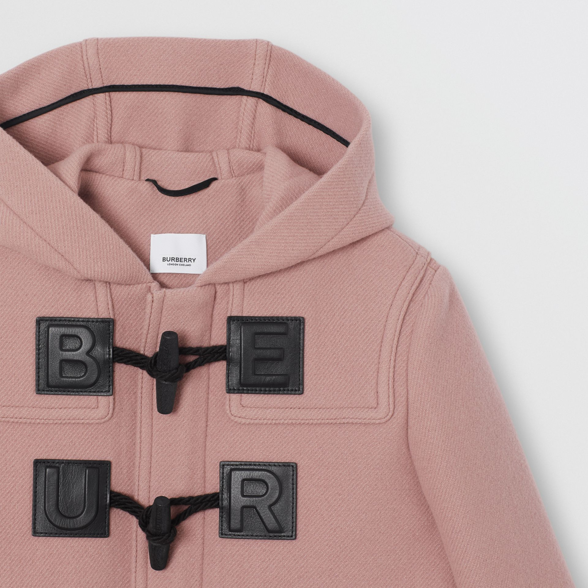 Logo Detail Wool Cashmere Blend Duffle Coat in Lavender Pink | Burberry - gallery image 4