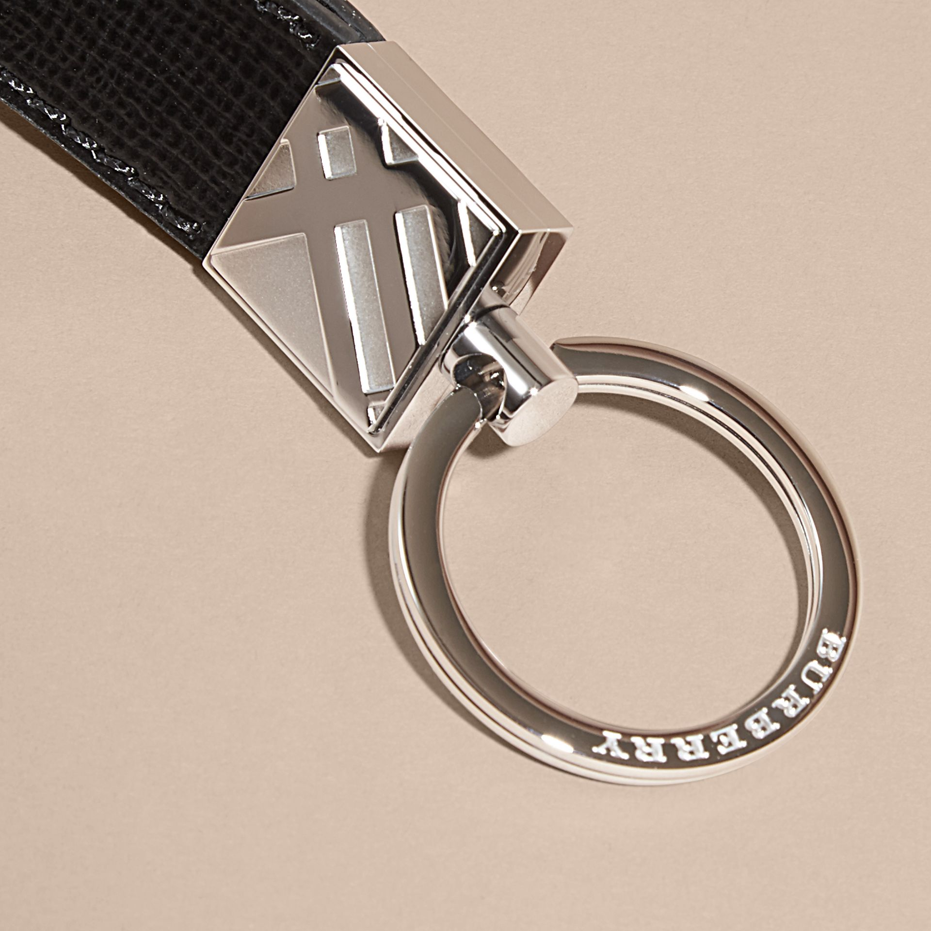 Black London Leather Key Ring Black - gallery image 2
