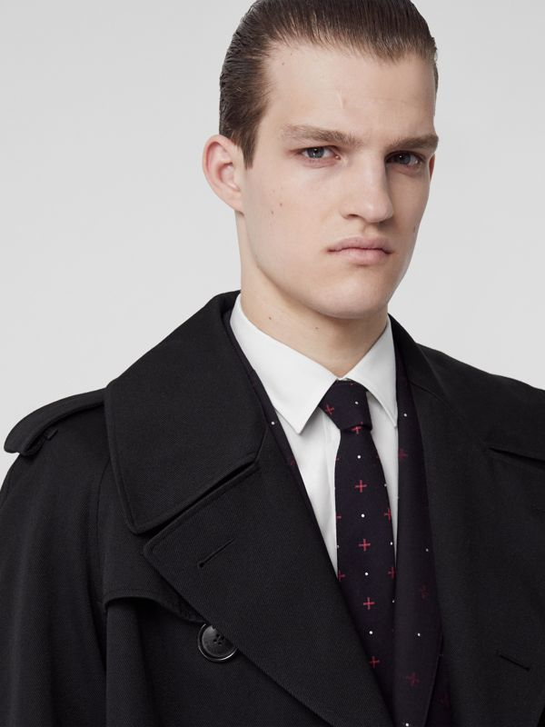 Classic Cut Graphic Silk Wool Jacquard Tie in Black - Men | Burberry United States - cell image 2