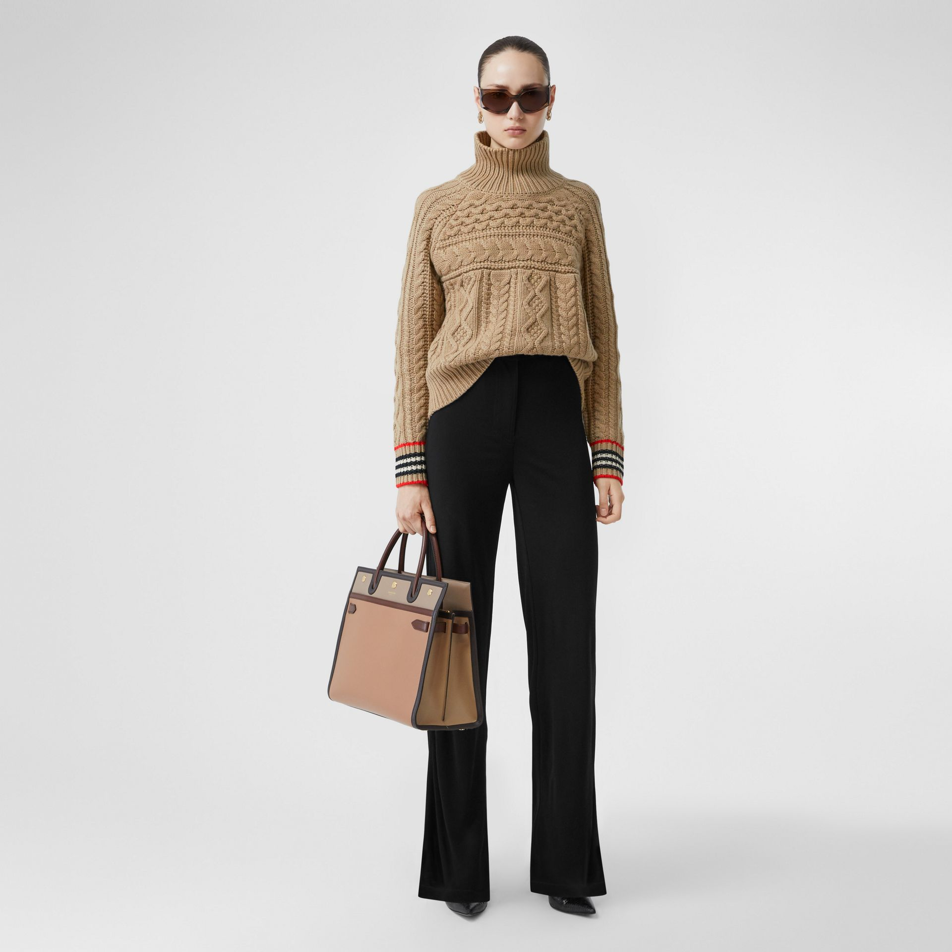 Icon Stripe Cuff Cable Knit Cashmere Sweater in Camel - Women | Burberry - gallery image 0