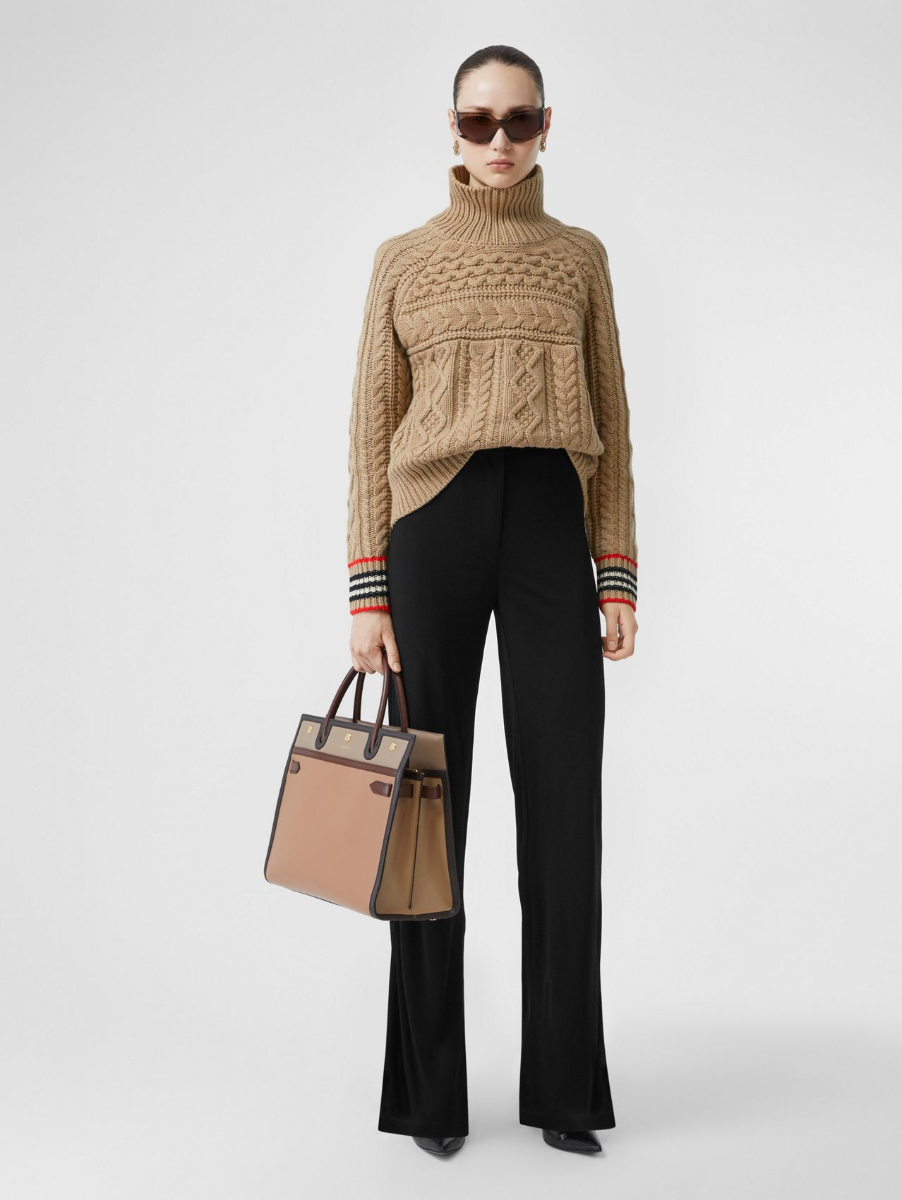 Icon Stripe Cuff Cable Knit Cashmere Sweater (Camel)