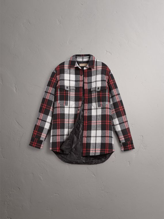 Quilt-lined Check Wool Cotton Blend Flannel Shirt in Black - Men | Burberry Canada - cell image 3