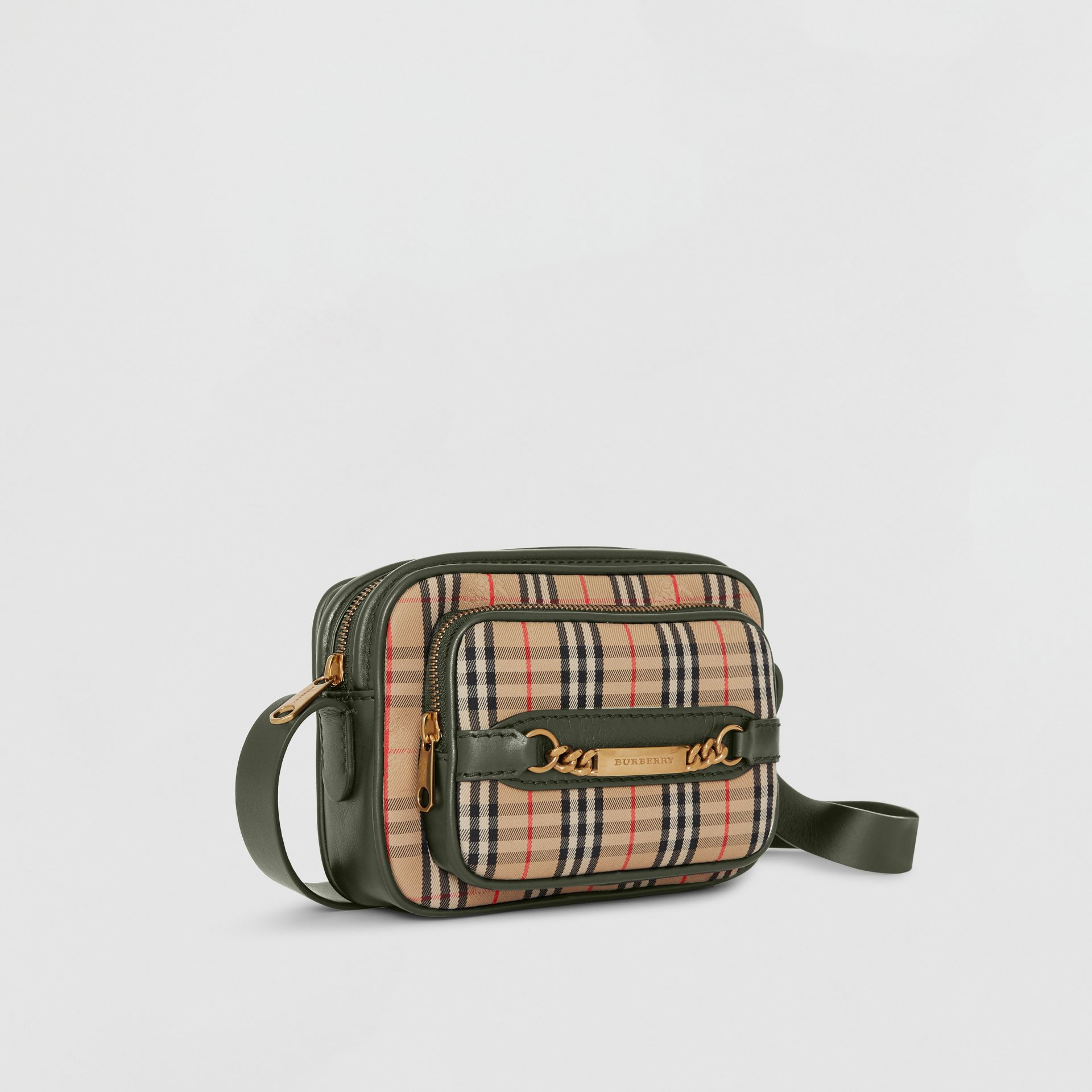 The 1983 Check Link Camera Bag in Dark Forest Green - Men | Burberry - gallery image 4