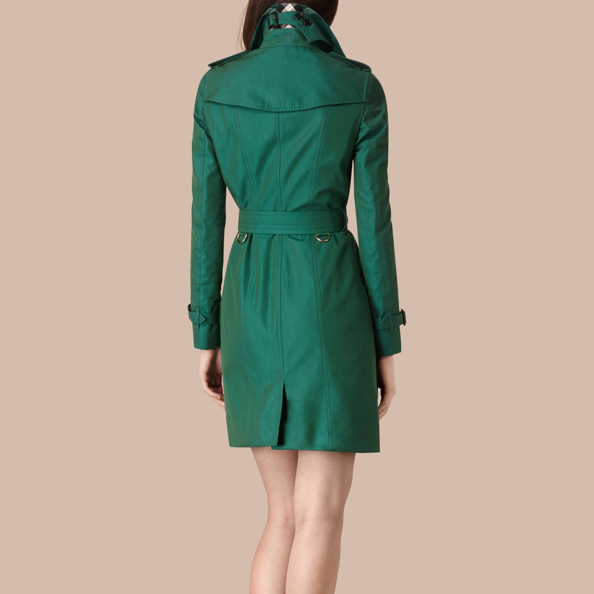 Aqua green Cotton Gabardine Trench Coat Aqua Green - gallery image 3