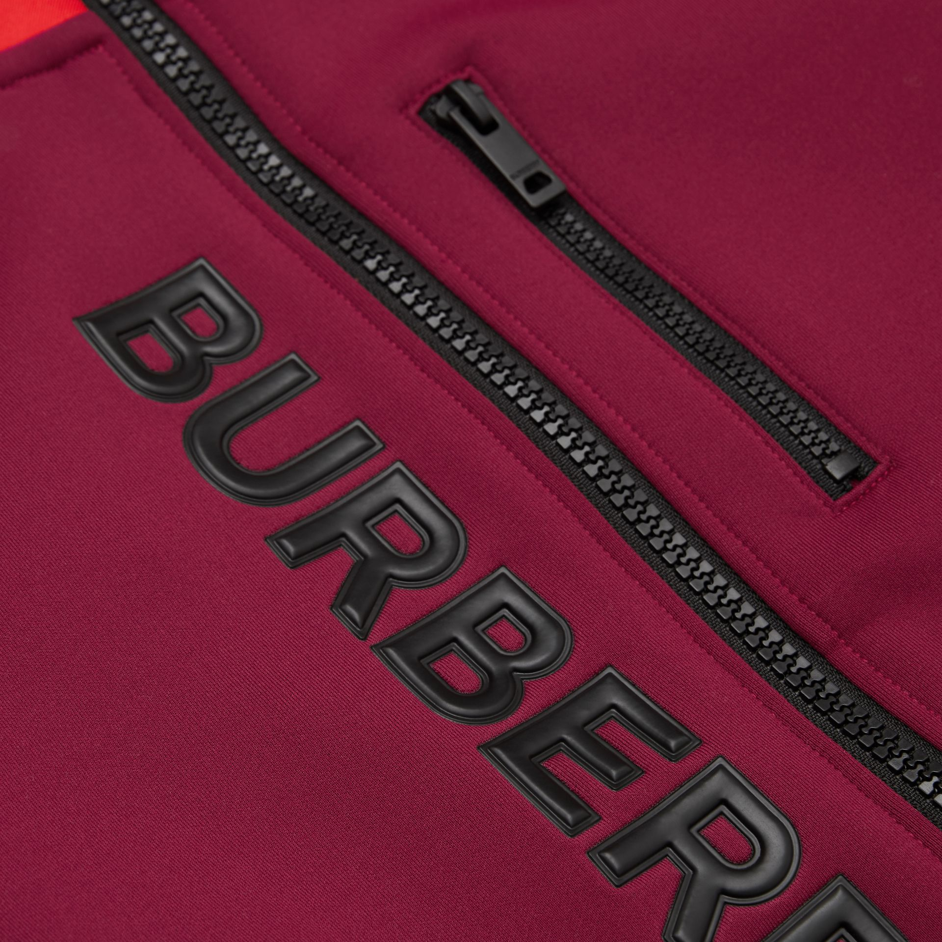 Logo Print Two-tone Stretch Jersey Track Top in Dark Burgundy | Burberry - gallery image 1
