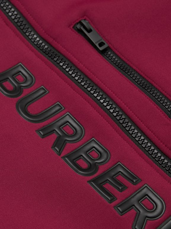 Logo Print Two-tone Stretch Jersey Track Top in Dark Burgundy | Burberry - cell image 1