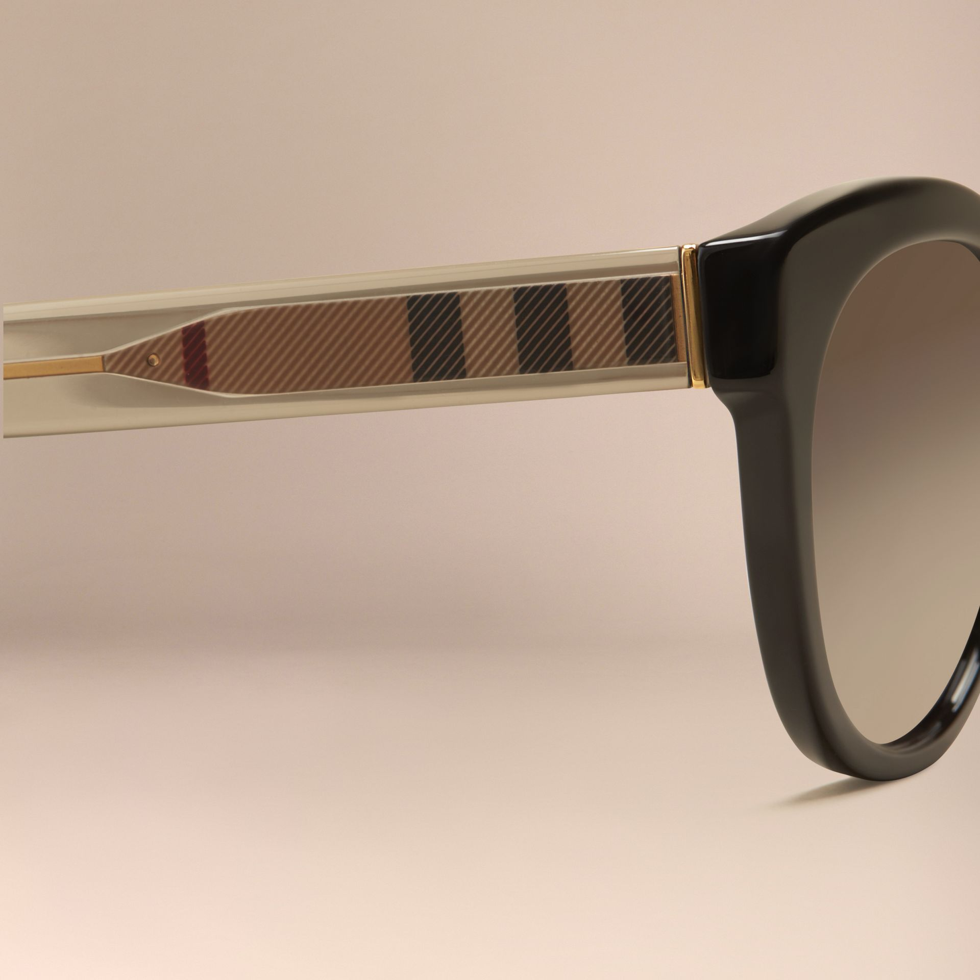 Black Check Detail Oval Polarised Sunglasses - gallery image 2