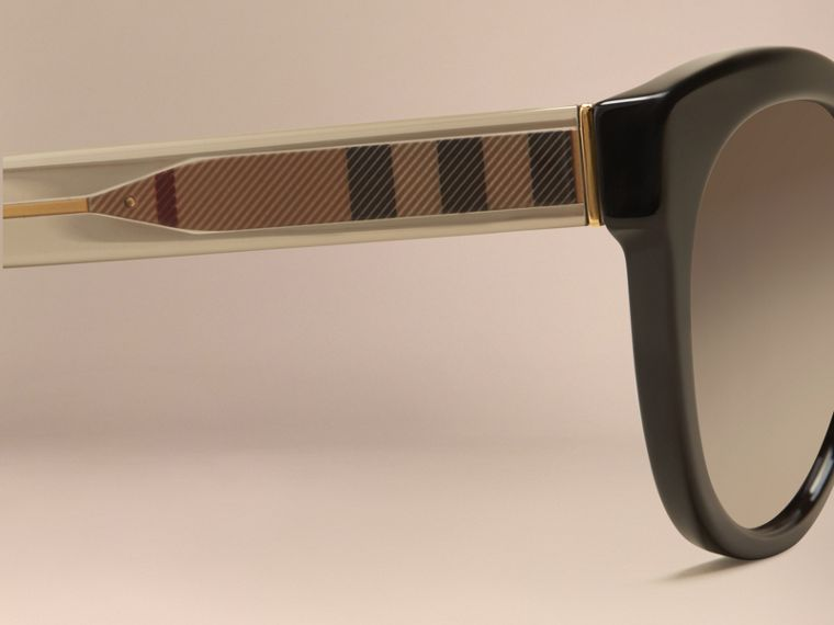 Black Check Detail Oval Polarised Sunglasses - cell image 1