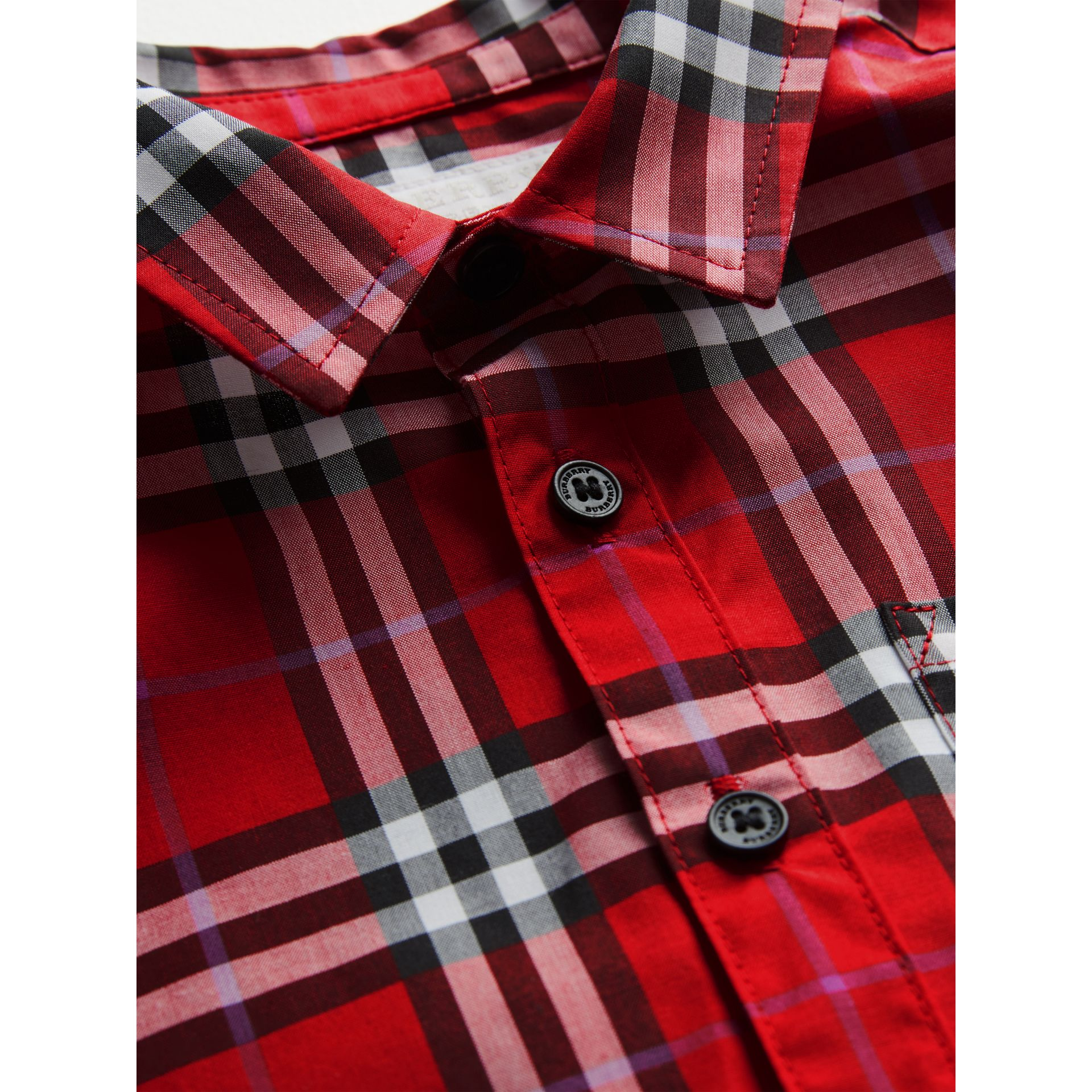 Short-sleeve Check Cotton Shirt in Bright Military Red | Burberry - gallery image 1