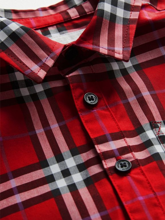 Short-sleeve Check Cotton Shirt in Bright Military Red - Children | Burberry Canada - cell image 1