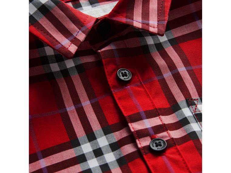 Short-sleeve Check Cotton Shirt in Bright Military Red | Burberry - cell image 1